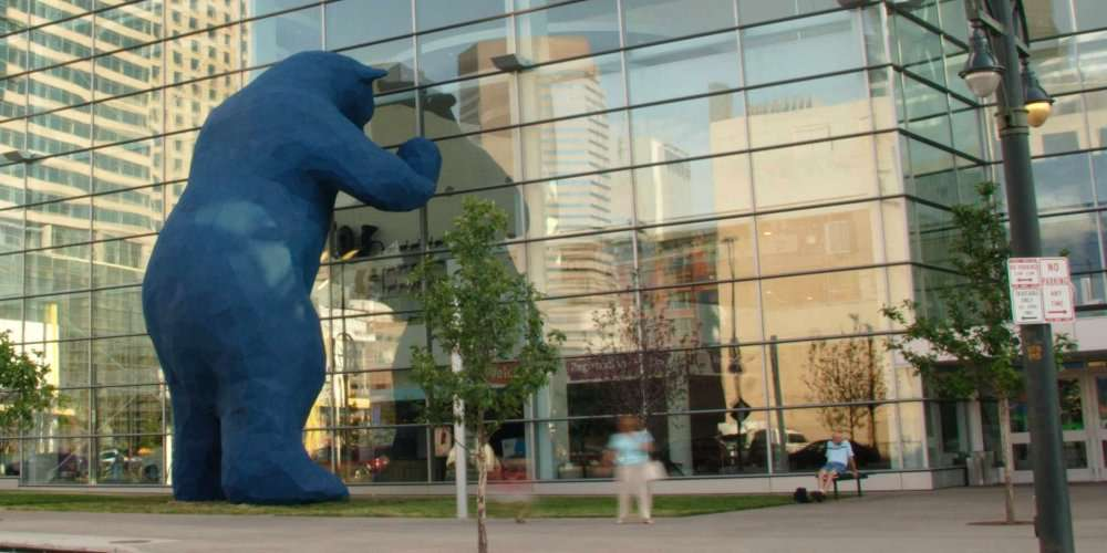 Giant blue bear, created by Kreysler & Associates
