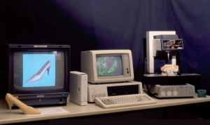 IBM PC, color monitor and desktop CNC machine from the eighties