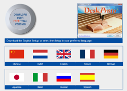 Screenshot of the download page with nine flags