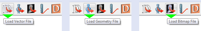 Load buttons for vector, geometry and bitmap