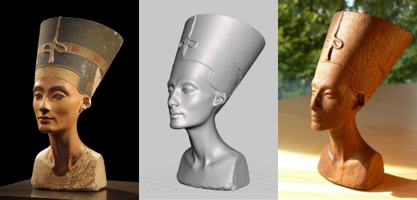Nefertiti: original, cad, and CNC machined