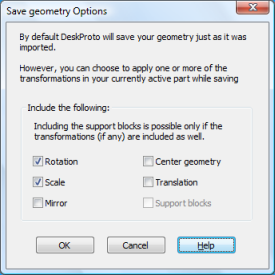 DeskProto Save-Geometry-As dialog