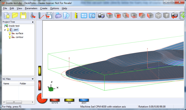 DeskProto screenshot showing an insole with toolpaths