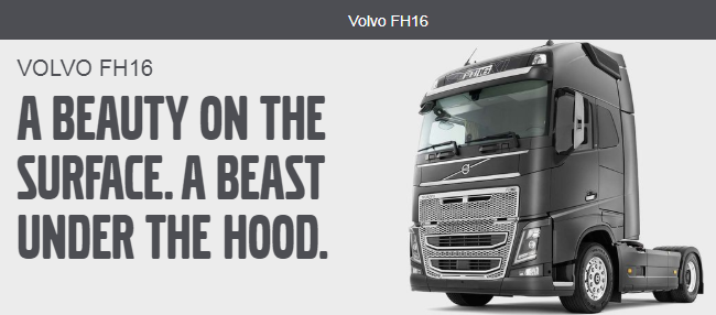 screenshot from the Volvo website