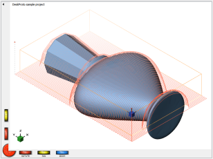 DeskProto screenshot: bottle with toolpaths