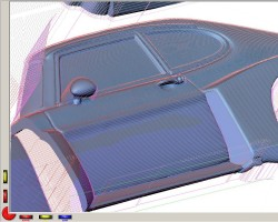DP screenshot with toolpaths for left side panel with car door