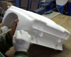 Two machined parts are glued together and filler is added where needed