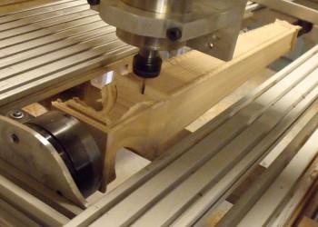 The table leg being machined