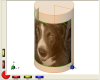 Dog photo wrapped round cylinder