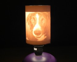 The resulting pipe lithophane used as a lamp-shade