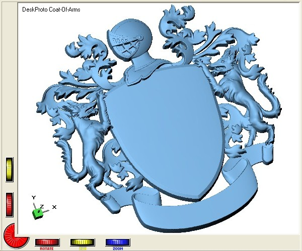 Screenshot of the Coat-Of-Arms relief in DeskProto.