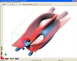 DeskProto screenshot showing toolpaths for one of the 8 sides