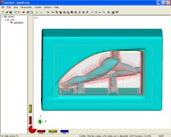 DeskProto screenshot of part and toolpaths