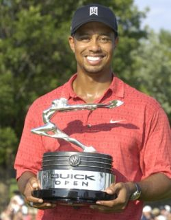 Tiger Woods with Buick Goddess Trophy