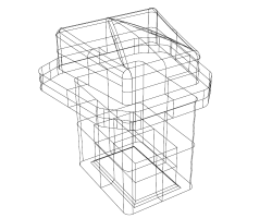 Wireframe drawing of a button