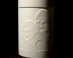 Pipe lithophane with two girls, the relief