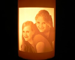 Pipe lithophane with two girls, lamp lit