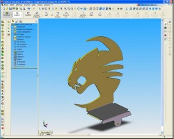 The logo in Solidworks, as 3D shape