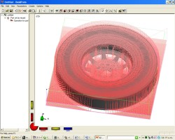 Toolpaths in DeskProto for one wheel