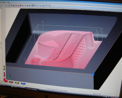 Screenshot of DeskProto with roughing toolpaths