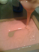 Pouring the silicone into the machined mold