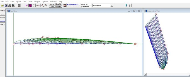 screenshot of the airfoil design program