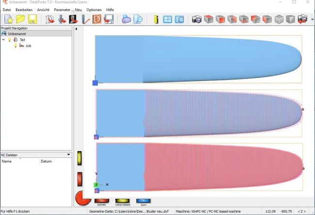 DeskProto screenshot, with and without toolpaths.