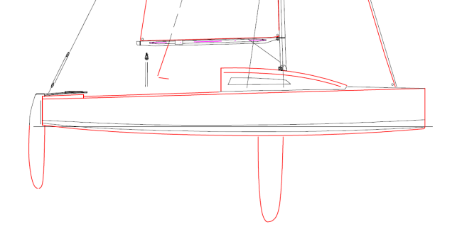 Line-drawing of a Jollenkreuzer boat.