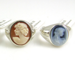 Two rings with a cameo relief in the stone