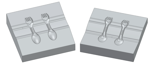 Design of the two mold halves