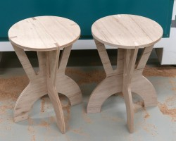 Two stools, machined and assembled.