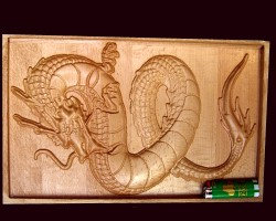 The resulting wooden dragon model
