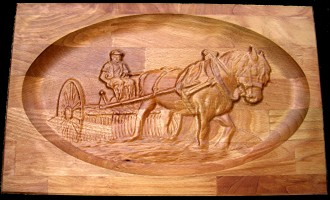 Horse relief in wood