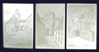 Three lithophanes of Wurzen town gates