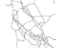 ArcGIS screenshot of the roads as lines