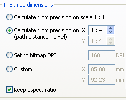 Part of the Bitmap settings dialog