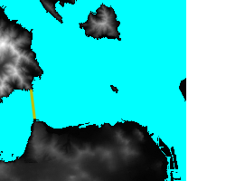 Same data with the sea colored blue