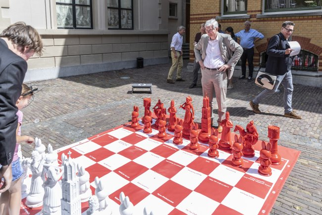 The chess set being used for a game
