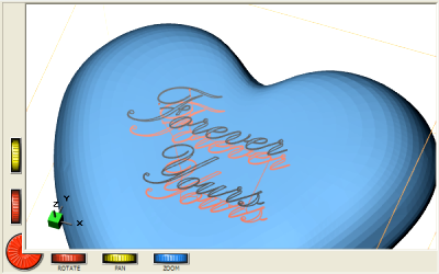 DeskProto screen with text engraved on the heart