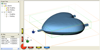 DeskProto screenshot with the heart for two-sided machining