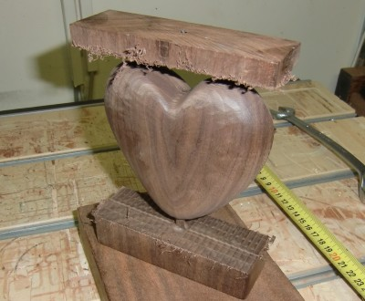 The resulting wooden heart