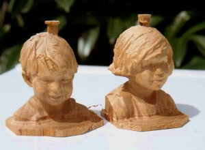 Two small wooden busts