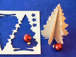 machined X-mas tree postcard